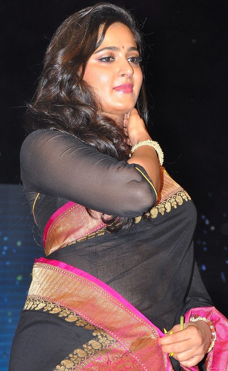 Anushka Shetty Sweety Posing Cute In Black Saree