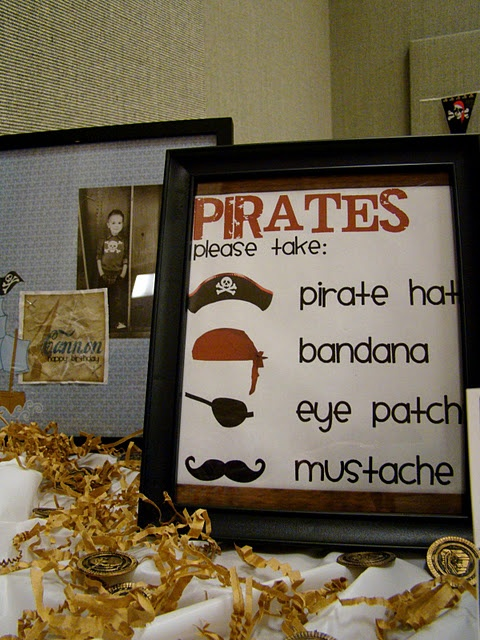 Pirate costume table at entrance.