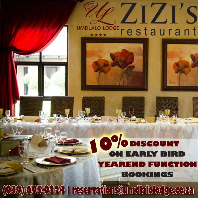 Book & save BIG on #earlybird #yearend functions #KZNSouthCoast