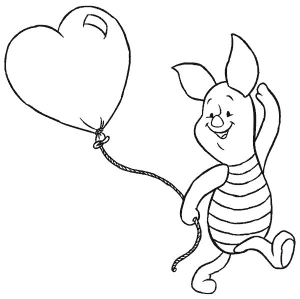 piglet and heart shaped baloon coloring page from winnie the pooh category select from 28458 printable crafts of cartoons nature animals bible and many - Disney Coloring Page
