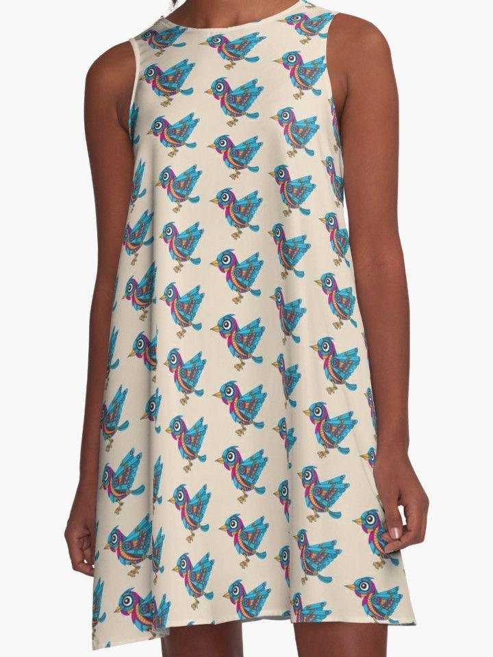 Mechanical Bird by enriquev242 T-shirt A-line dresses #Bird #mechanical #robot #blue #machine #animal #wings  #cartoon #gear #fly #nature #vector #cute #steampunk #redbubble #tshirt #dress