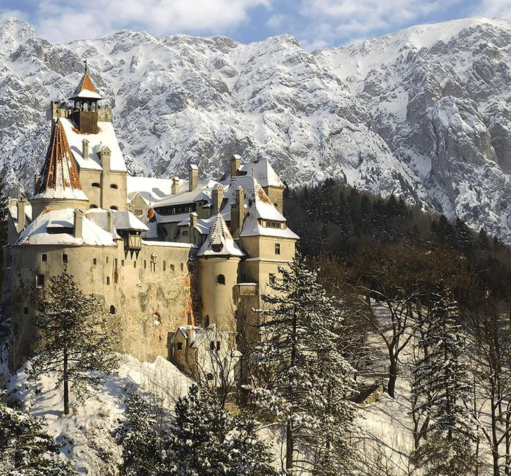 Snow covered Mountains of Bran Castle (Dracula Castle)