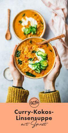 Curry-Kokos-Linsensuppe mit Spinat