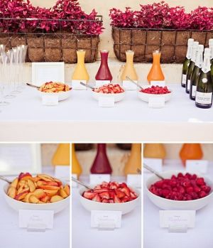 Mimosa bar. Perfect for a brunch. Love the mokara orchid baskets too!