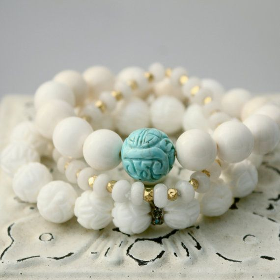 White Carved Shell Bracelet w Crystal by LaliJewelryShop on Etsy, $29.00