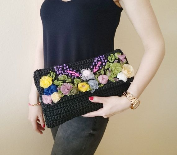 Black Crochet Clutch with Floral Appliques by LTLDizaynDIY on Etsy