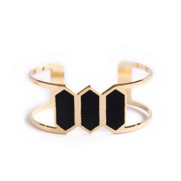 Bracelet Manchette Réda Noir Anne Thomas  A shopper sur www.autreshop.com !
