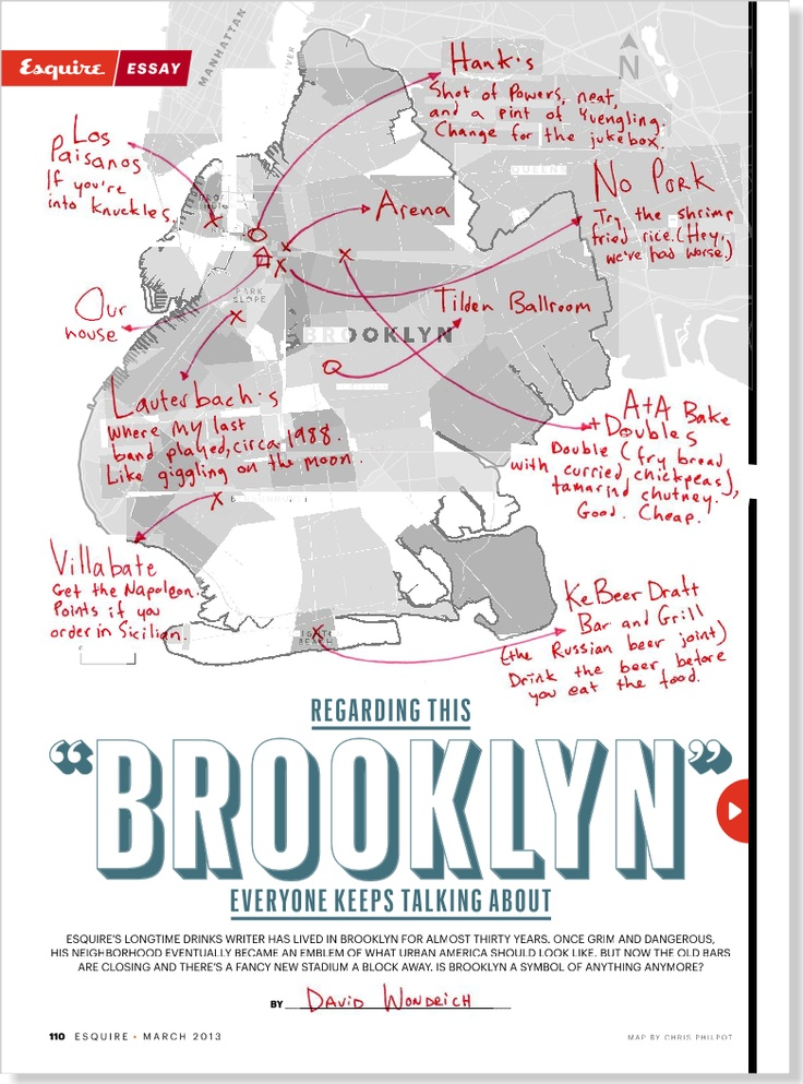 A great article by Esquire's David Wondrich, on the changing face of Brooklyn. Clipped from Esquire using Netpage.