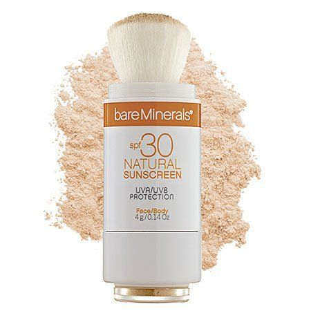 bareMinerals SPF 30 Natural Sunscreen - Medium by Bare Escentuals. $28.00. Available in different shades to match (or warm up) your natural complexion. Patented built-in brush makes it ideal for the whole family; even little kids. Blends in beautifully over or under makeup. Breakthrough Micronized Titanium Dioxide physically shields against UVA/UVB rays. Protects your skin from sun damage without a heavy, greasy finish. Maybe we can't sunbathe in baby oil anymore, ...