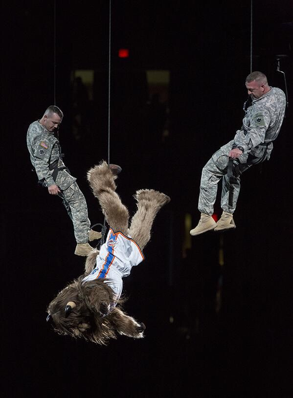 Rumble the Bison belaying in at the start of the OKC Thunder game!