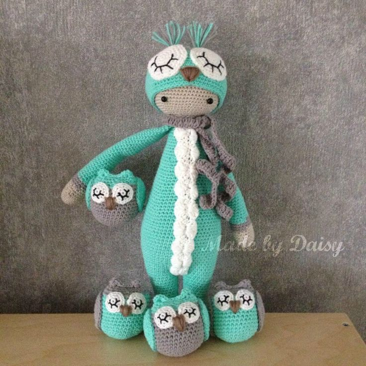 Lalaylala owl Owlly with friends! Mod of pattern of Lalaylala Buzz / Made by Daisy