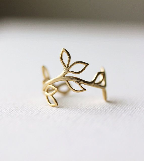 Delicate Leaf Branch ring - Silver OR Gold, Everyday jewelry, Leaf Ring, Vine Ring,Adjustable Ring,Gift for Her,Gift Under 20 via Etsy