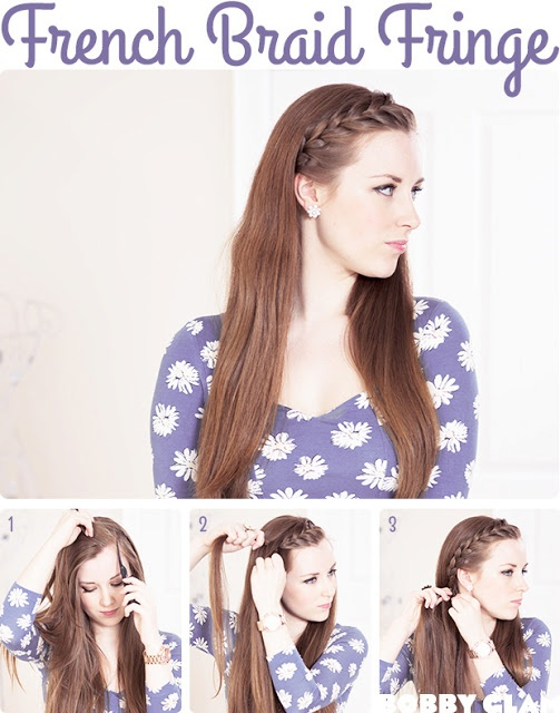 In a rush and need to pull your bangs back? Try this French Braid Fringe when your in a pinch!