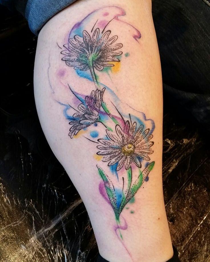 Watercolor Daisy Tattoo