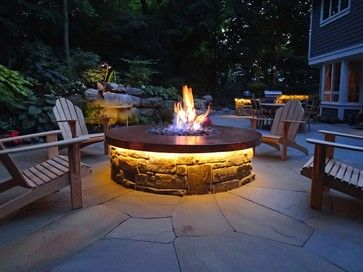 Hand Hammered Copper Gas Fire Pit With Led Lighting And