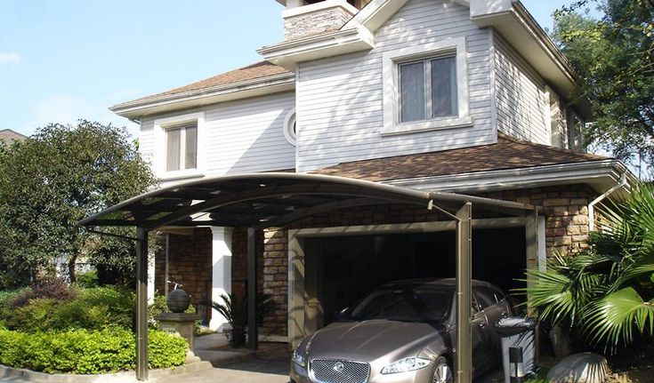 This is our best-selling carport that can accommodate two cars. In fact, it can be not only used as carport, but also as the extension to the house, shelter, pavilion and so on. Some of our customers even drink coffee under the carport. The feature of this kind of carport is that there has a curved structure on the top so that rain can drop quickly.  We use four posts in order that two cars can be parked side by side. Its appearance is very elegant and its price is also affordable. Its whole…
