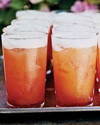 Late-Harvest Wine and Campari Cocktails  2 1/4 cups fresh orange juice  3 3/4 cups sweet late-harvest white wine, such as Riesling  1 cup Campari  Ice, for serving