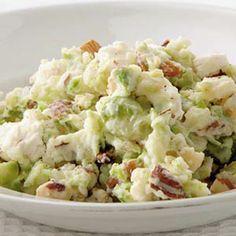 Recept - Stamppot van spruitjes en geitenkaas - Allerhande.  A different potato salad with sprouts.