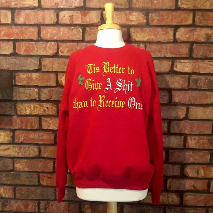 "Naughty Inappropriate Christmas Sweater L XL Sweatshirt ""Give A SH T"" Funny Red 