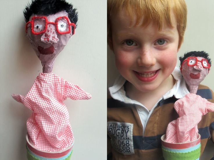 Pop up cone puppet made by children at Follow the Silver Bird workshop based on 'My Nose, Your Nose' by Melanie Walsh.