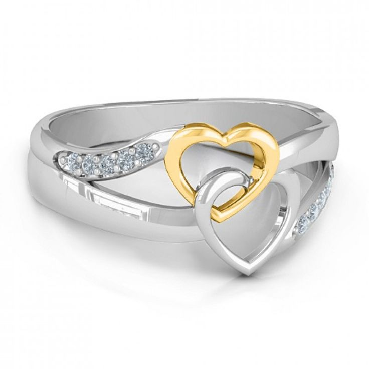 https://www.neatie.com/custom-engraved-forever-linked-hearts-ring This two-toned ring features two heart cut outs linked into one another with gorgeous accent detailing on either side of the freeform shank. The ring represents a love so strong that it makes two hearts feel interlocked and bound together forever. This is the perfect #promisering because the connected hearts are a representation of a promise that cannot be broken and two hearts that cannot be separated. Your girlfriend will…