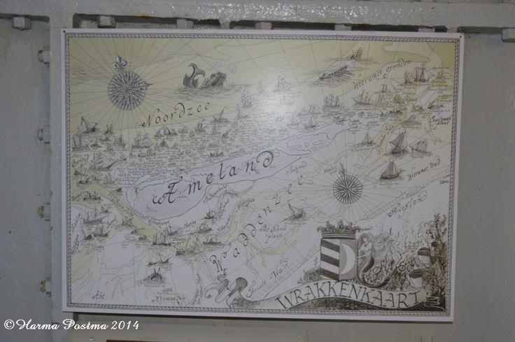 Wrakkenkaart van Ameland.. Deze hangt in de vuurtoren. Hollum.