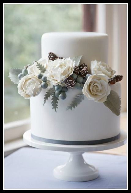 Winter Wedding Cake - Erica OBrien Cake Design    --add some green   and white roses or pale pink shimmer?