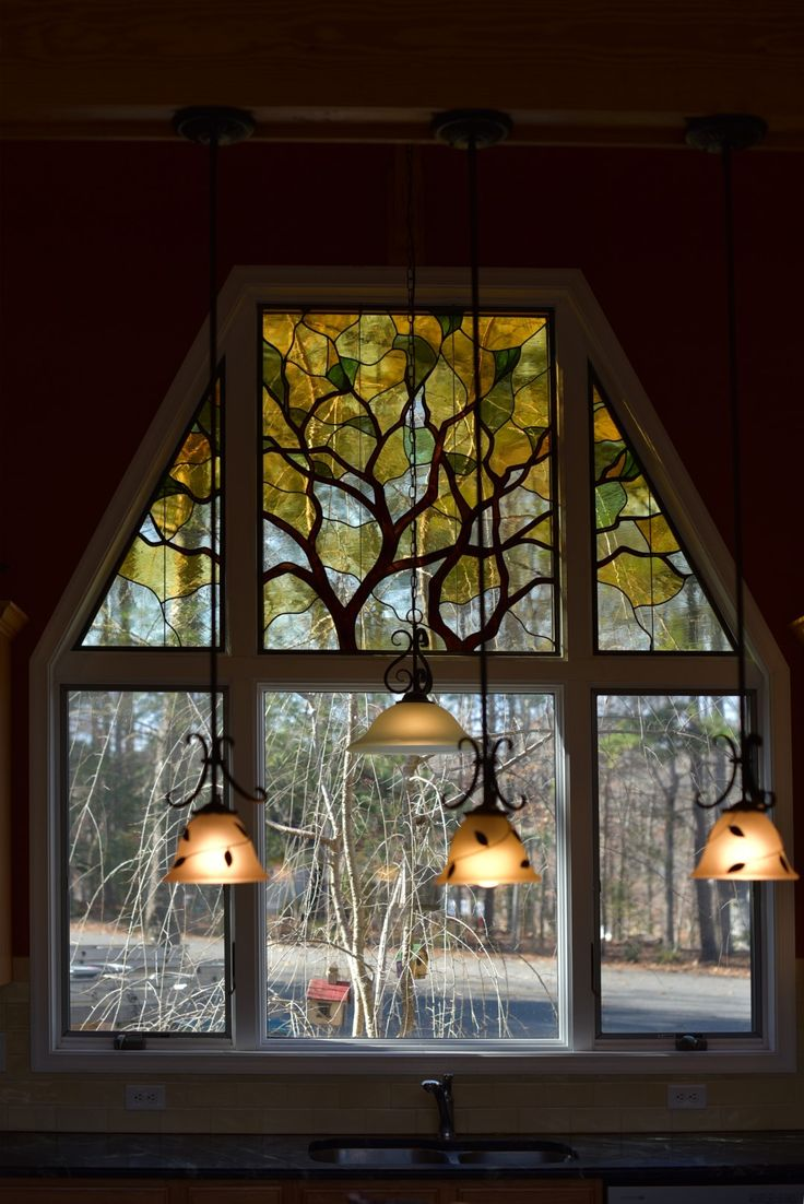 Leaded Contemporary Stained Glass Tree Lake Monticello Virginia
