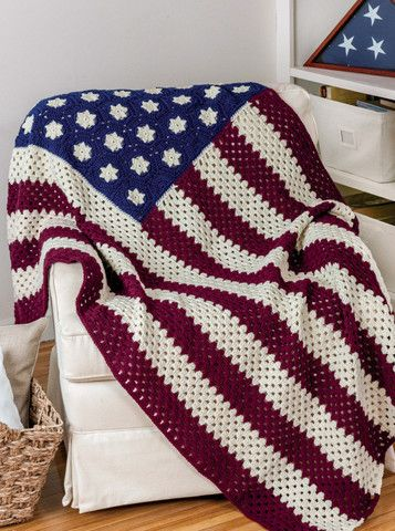 "Show your gratitude to veterans and active members of the Armed Forces and their families with comforting throws and lap robes. The designs found in ""Honoring Our Veterans"" are all crocheted with American-made yarn in patriotic colors or camouflage prints.  http://www.maggiescrochet.com/collections/crochet/products/honoring-our-veterans"