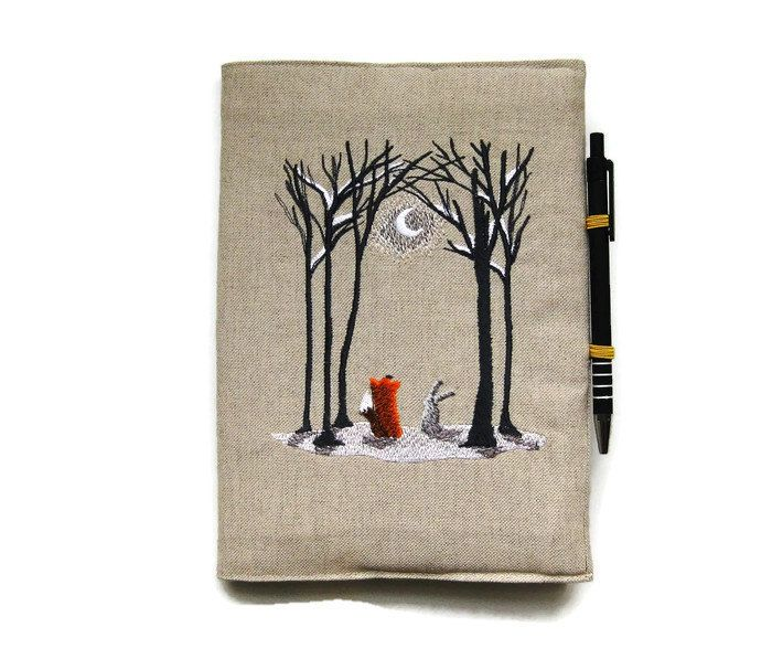 A5 notebook and pen, gift set, journal cover, reusable notebook cover, back to school, embroidered linen woodland fox and rabbit in the snow - pinned by pin4etsy.com