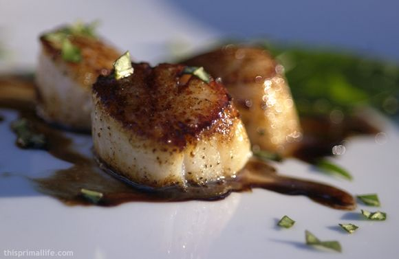 Caramelized Scallops and Balsamic Reduction Sauce Recipe--to good not to do.