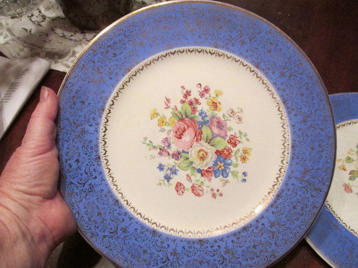 Century by Salem  blue dinner plates with boquet flowers and gold trim #Salem