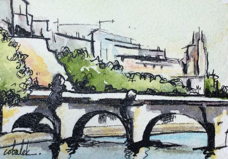 Paris Seine River bridge watercolour and ink painting by Christy Obalek.  ACEO size (trading card): 2.5x3.5""