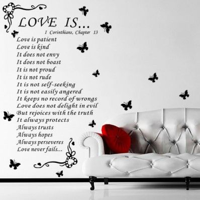 Christian bible wall quote removable vinyl decal stickers art decor love is