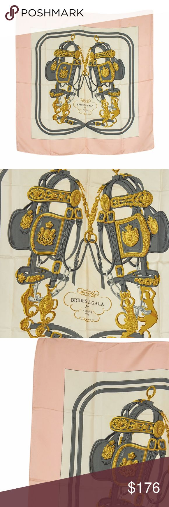 Hermes Bride de Gala Silk Scarf (137495) This Hermes Bride de Gala scarf features:  •Shows staining and wear throughout •Overall Condition: Pre-owned •Exterior Condition: Gently Used •Type: Scarf •Material: Silk •Origin: France •Color: Pink/Gold/Grey •Odor: Perfume •Weight: 0.135 lbs •Production Code: N/A Hermes Accessories Scarves & Wraps