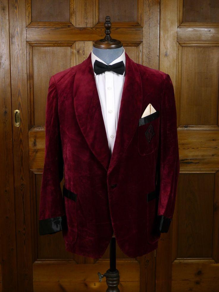 1951 Toronto Bespoke Tailored Burgundy Red Silk-Velvet ...
