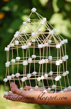 The kids would love this idea... mini marshmallows and toothpicks!  Too easy!