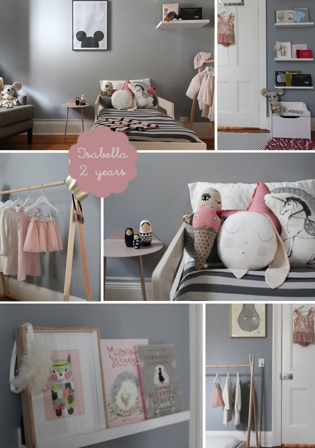 my room: isabella | toddler girl bedroom in grey with pink accents