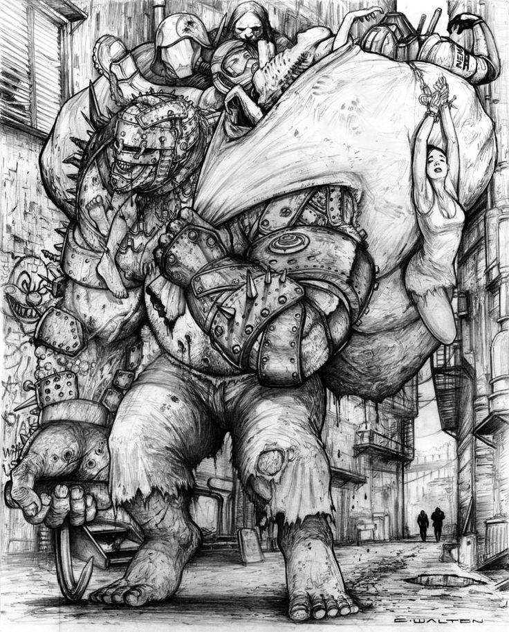 Rifts: Chaos Earth Resurrection.  Garbageman Scrap Zombie by ChuckWalton on DeviantArt