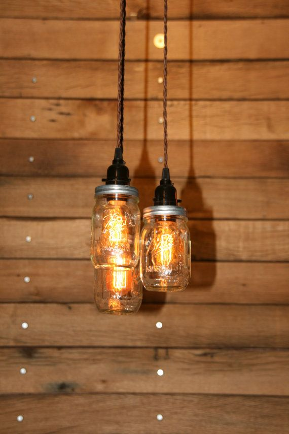 3 Jar Pendant Light  Mason Jar Chandelier by IndustrialRewind, $109.00