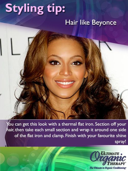 Get the Beyonce curls with a thermal flat iron and your favourite shine spray!