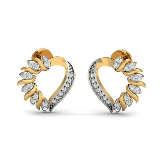 While one side of this heart shaped earring is plain gold, the other part has been designed quite beautifully and artistically. It is made up of small leaf like figures, each studded with two diamonds. Go ahead & customize it with options in Gold Purity (18K, 14K), Diamond Grade (SI-HI, VS-GH, VVS-GH) & Metal Colour (Yellow, White, Rose) of your liking. Create your own unique jewelry. #Loving #Heart #Diamond #Stud #Earrings