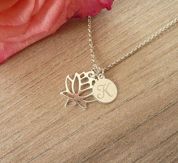 Personalized Lotus Necklace Silver Lotus Necklace Lotus