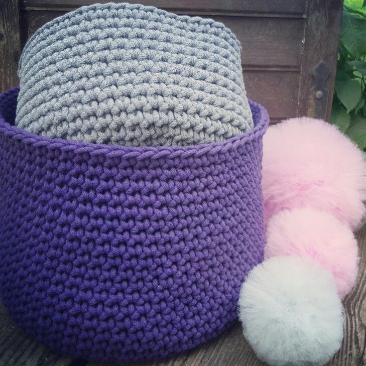 Violet and Grey crochet baskets. Nice handmade.  Tule pompons fluffy and cute!