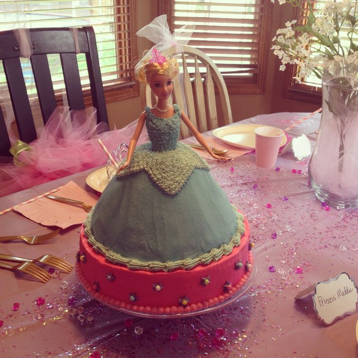 Blue Princess Aurora (sleeping beauty) doll cake.