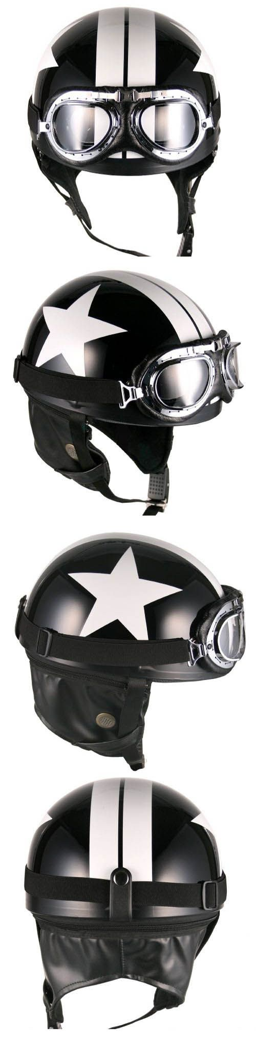 Black White Star Goggle Helmets Half Face Vintage Motorcycle Motorbike | eBay