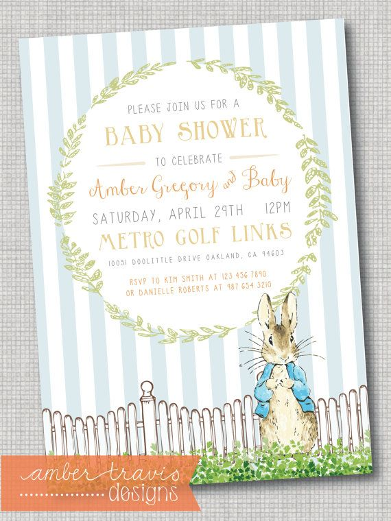 Hey, I found this really awesome Etsy listing at https://www.etsy.com/listing/225460485/peter-rabbit-baby-shower-invitation
