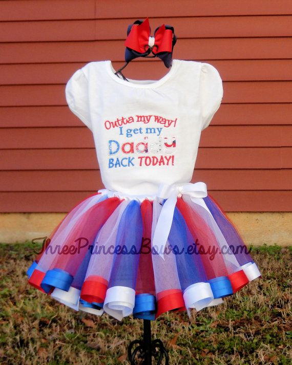 Military Welcome Home Tutu Set  Daddy Mommy by ThreePrincessBows