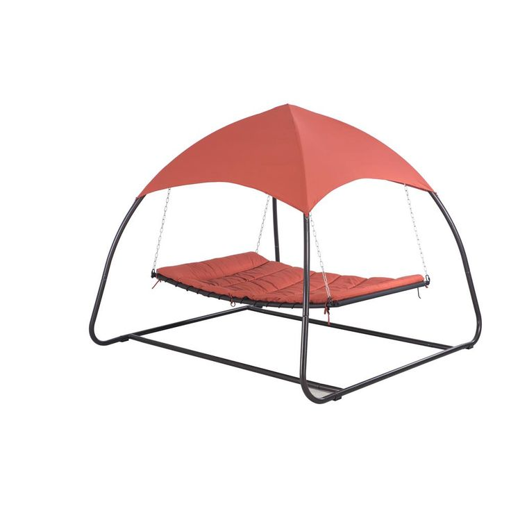 Sunjoy Pyramid 8.85 ft. Spun Polyester Hammock with Canopy, Red