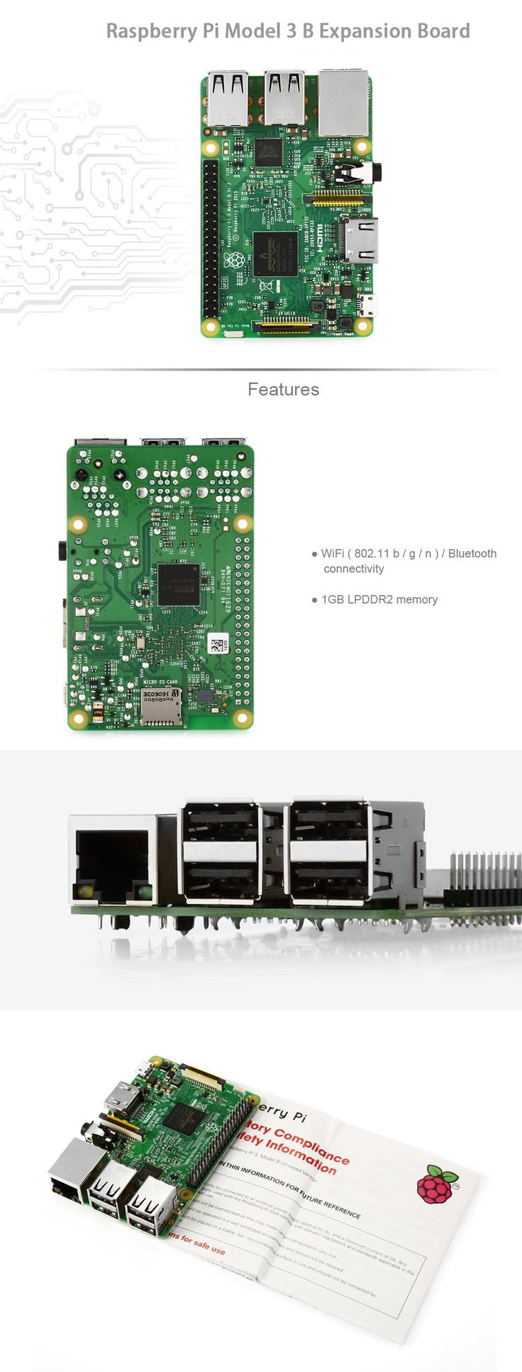 Raspberry Pi Model 3 B Expansion Board Electric DIY Component